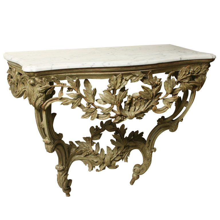 dining room: A  Green Painted Carved Wood Louis XV Provencal Console | 1stdibs.com