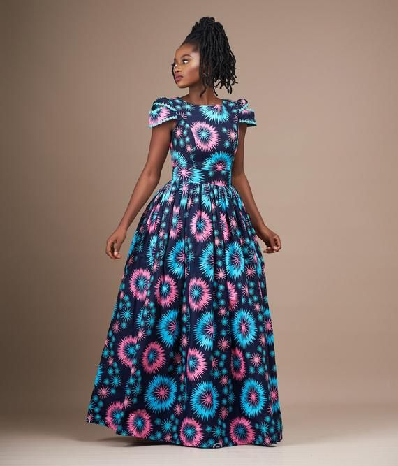 Abibah African Print  Dress/African clothing/African print maxi dress/ African print prom dress/Anka #africanprintdresses