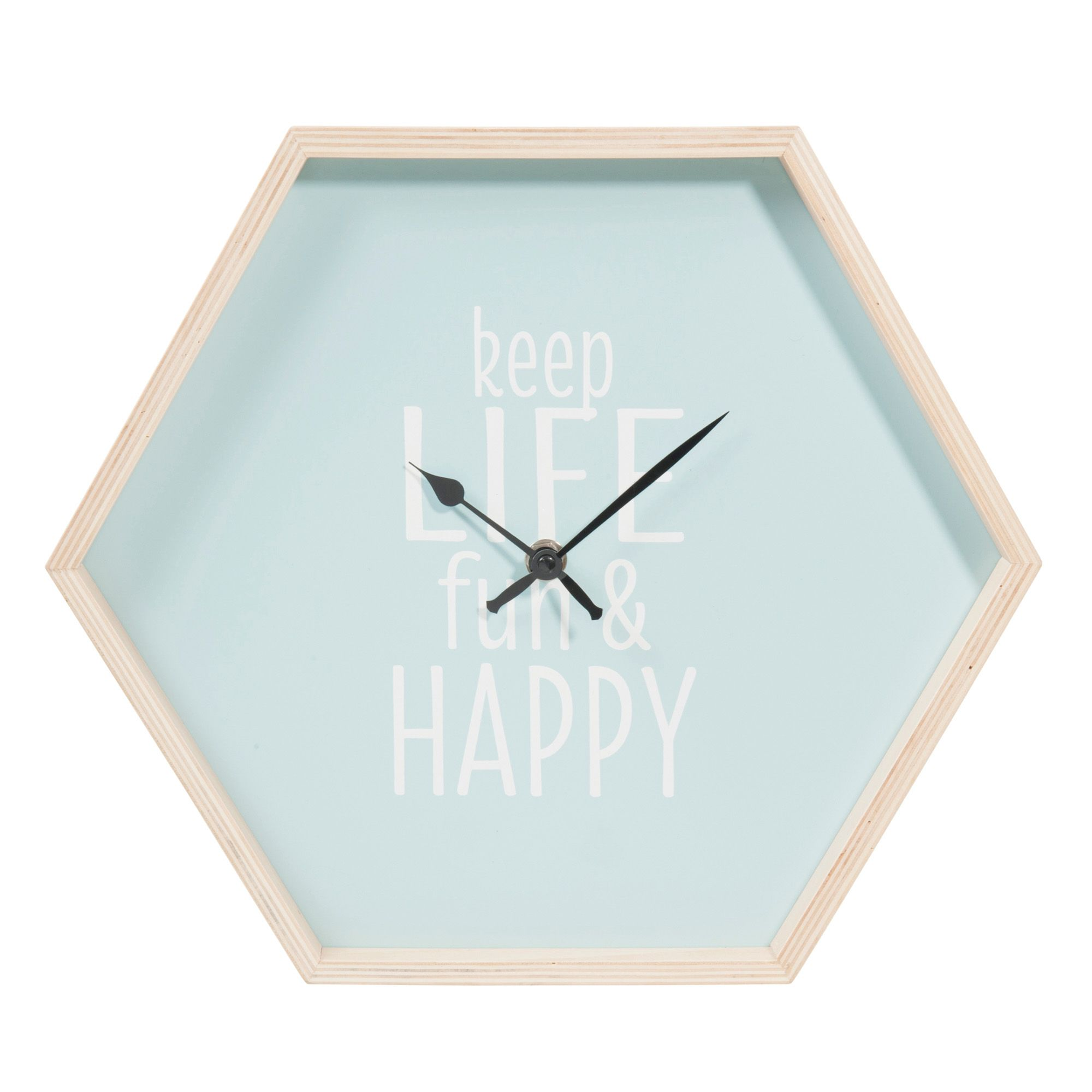 horloge hexagonale en bois bleu d 32 cm keep life fun