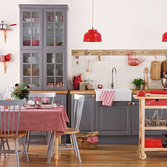 Grey And Red Shaker Style Kitchen Farmhouse Kitchen Design Red