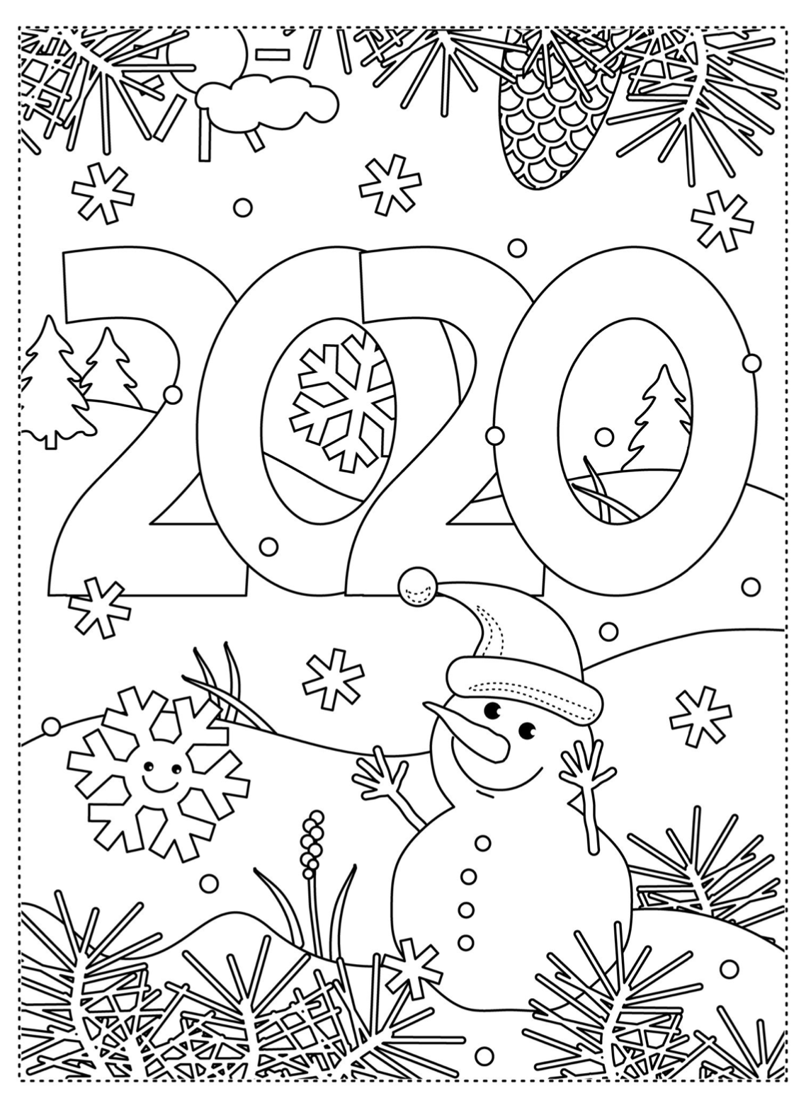 Kleurplaat 2020 2 Winter Crafts New Year Coloring Pages Unicorn Coloring Pages