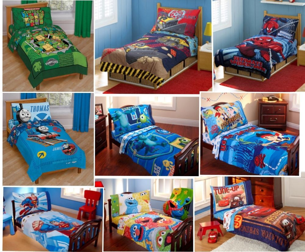 4pc Boys Toddler Bedding Set Comforter Sheets Bed In A Bag Crib