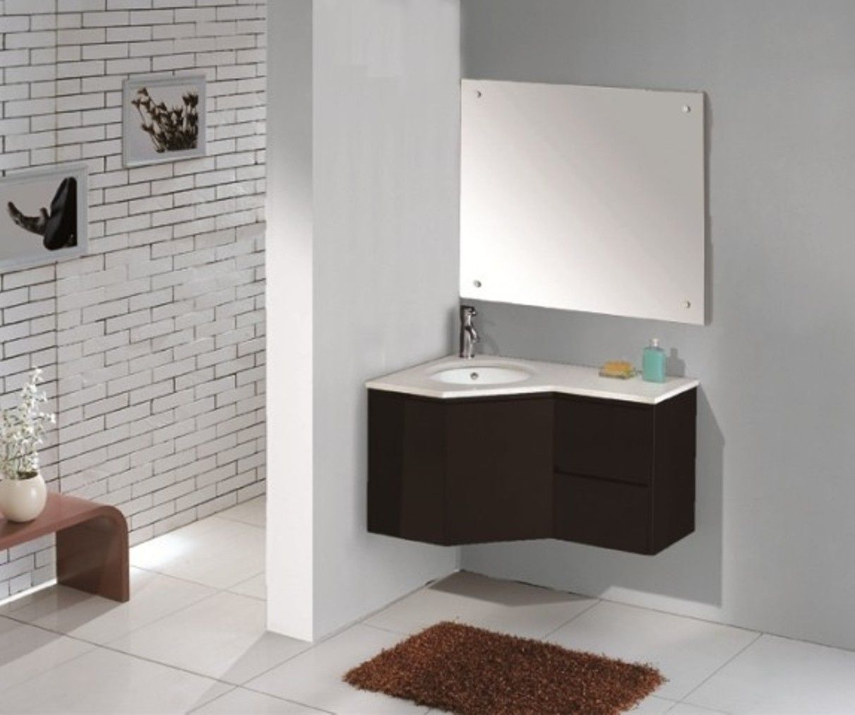 Marble Corner Sink With White Sink Bowl For Corner Bathroom Sink