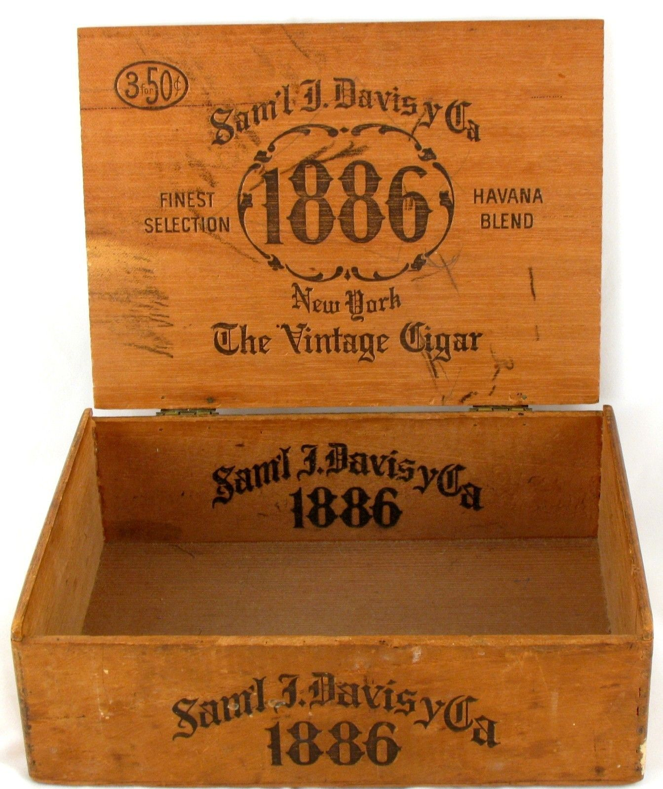 Details About Vintage Wood Cigar Box 1886 Saml Davis Queens New