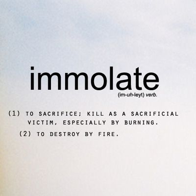 immolate to sacrifice word of the day beautiful  immolate to sacrifice