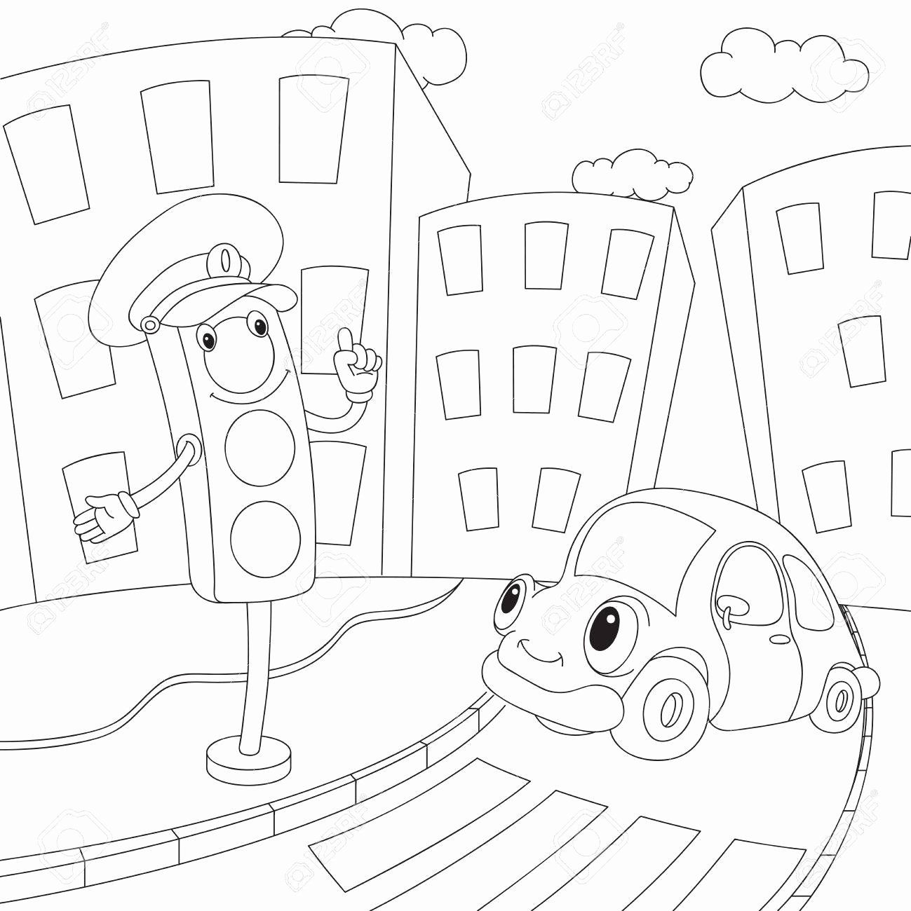24 Stop Light Coloring Page In