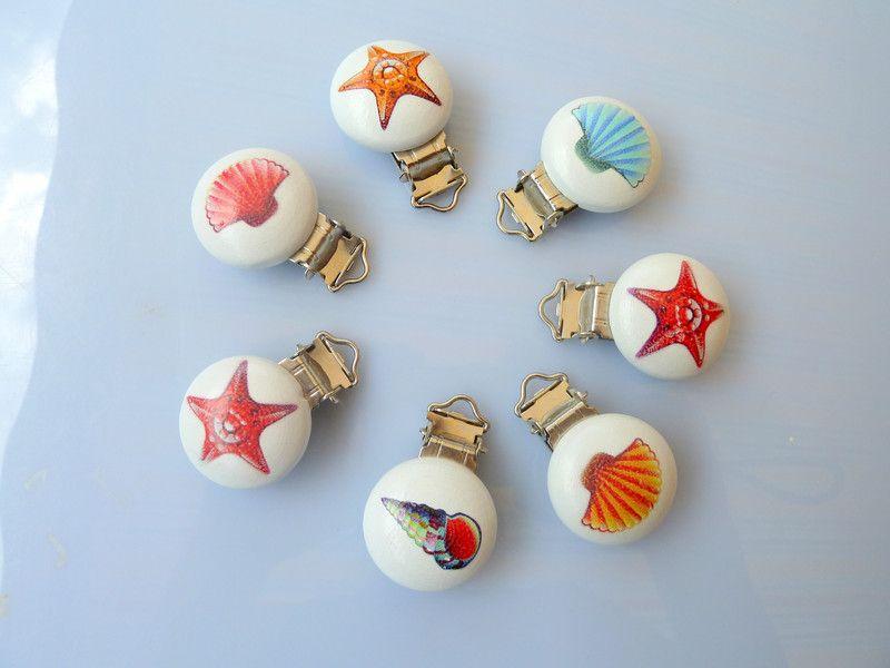 Schnullerclips - Schnullerkettenclips 7 Stück - ein Designerstück von Glitzerstuebschen bei DaWanda