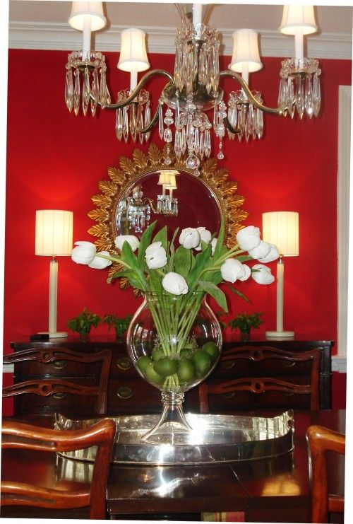 Love The Green Stems With Dark Wood And Red Walls Dining Room Table Centerpieces