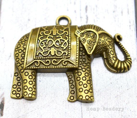 Bronze Elephant Pendant, 4pcs, Bohemian Pendant, Necklace Pendant, Large  Elephant  Pendant