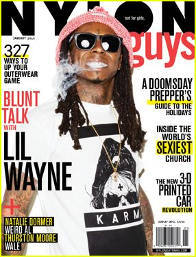 Lil Wayne shows off his grillz on the cover of Nylon Guys magazine's January 2015 issue