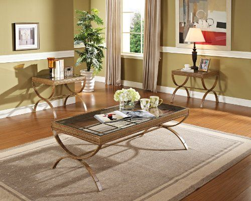 Acme 80080 3 Piece Quintin Coffee End Table Set Gold Finish Acme