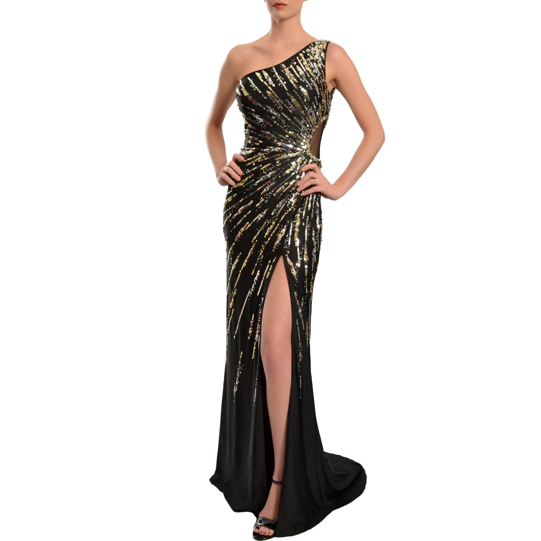 Mac duggal womenus black oneshoulder starburst sequined gown