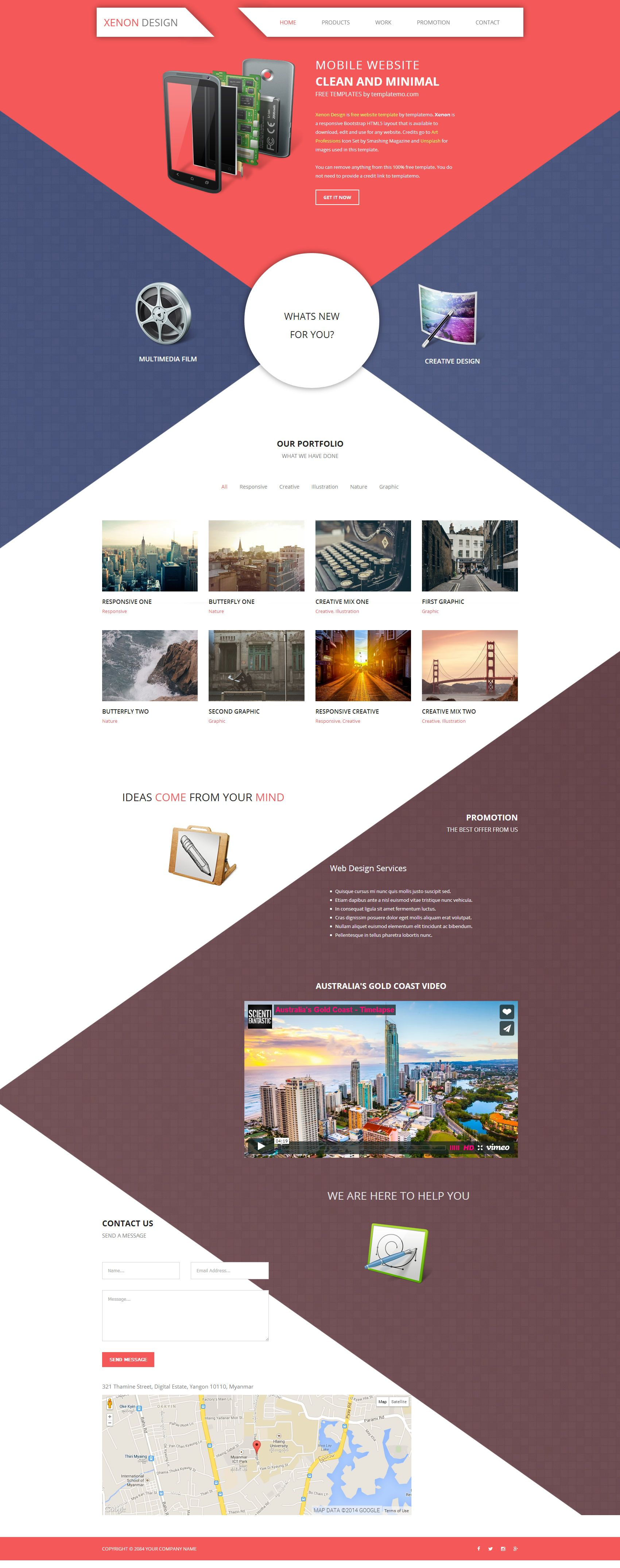 Xenon Is Free Html5 Responsive Website Template Attractive Diagonal Shapes Red Blue Brown An Web Layout Design Responsive Website Template Website Template