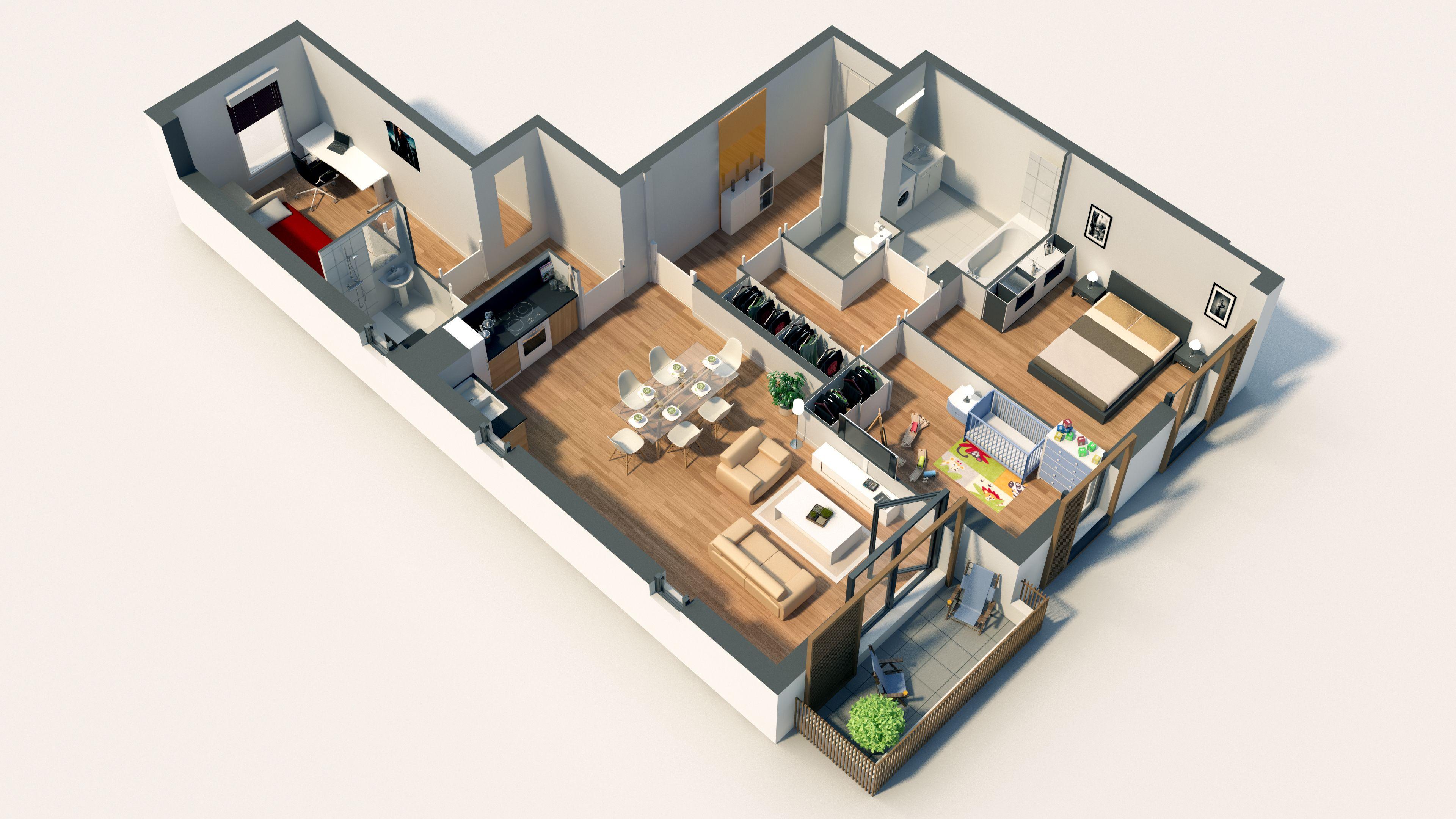axonom trie d 39 un lot de type t4 issu d 39 un programme. Black Bedroom Furniture Sets. Home Design Ideas
