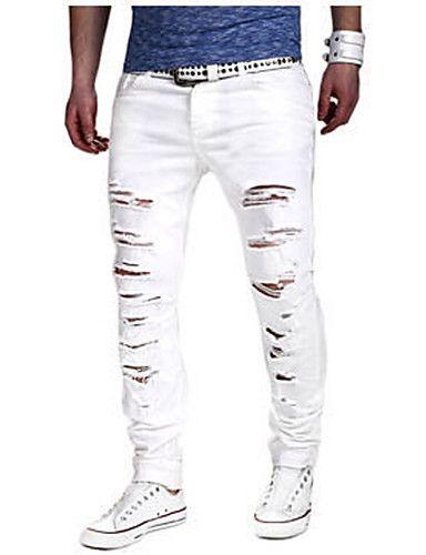 d73a7e68d2 Hombre Casual Tiro Medio Microelástico Delgado Vaqueros Chinos Pantalones
