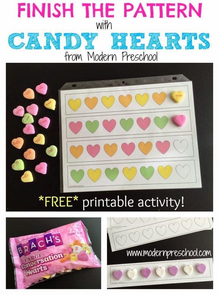 Candy Heart Patterns Math Activity Kindergarten Valentines