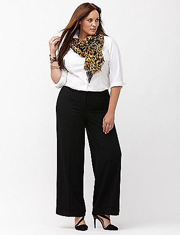 Plus Size Work Look - Plus Size Tailored Stretch Wide Leg Pant ...