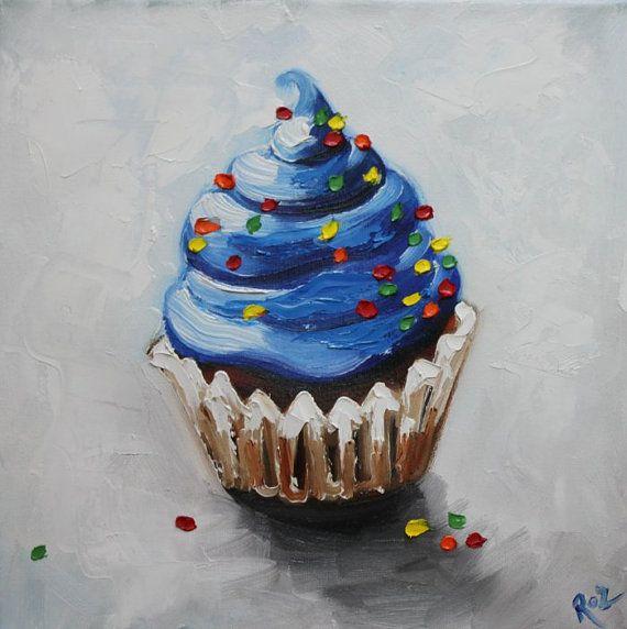 Cupcakes Cute Wallpaper Cupcake Painting 122 12x12 Inch Original Still Life Oil