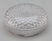 Art Glass:Lalique, R. Lalique Clear Glass Nippon Powder Box. Circa 1932.Stenciled R. LALIQUE. M p. 239, No. 88. Di. 5-3/8 in....