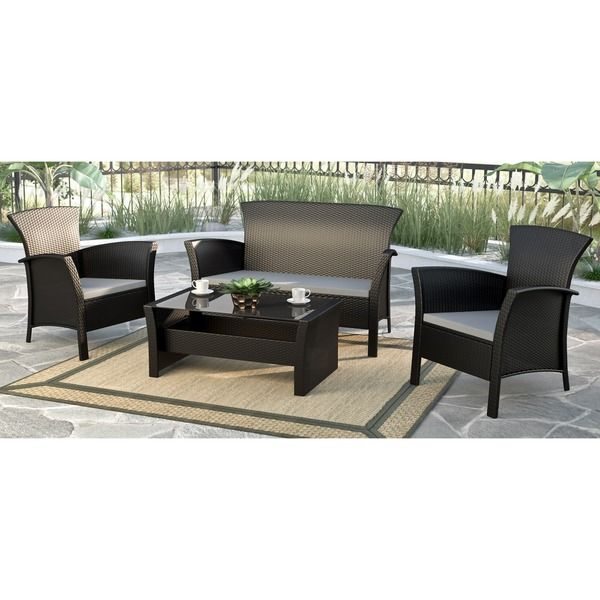 CorLiving Cascade Black Rope Weave 4-piece Patio Set | Outdoor deck ...