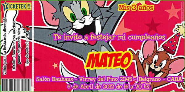 Tom And Jerry Birthday Invitation Card Tarjeta Invitación