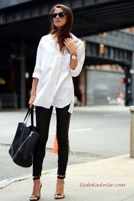 2020 En Sik Is Kiyafetleri Siyah Pantolon Beyaz Gomlek Siyah Topuklu Ayakkabi Yazlik Is Giysileri Trend Elbiseler Moda Stilleri