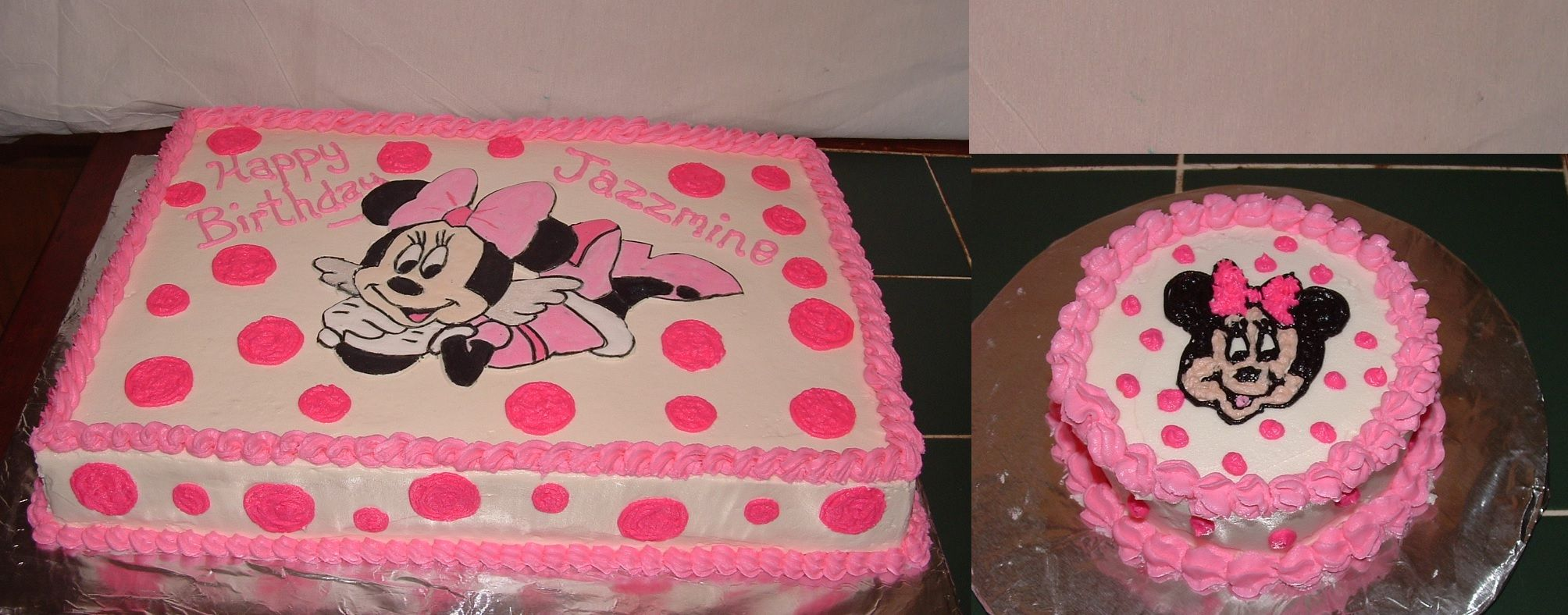 Minnie Mouse Sheet Cake With Smash Cake Bright Pink 1st Birthday Cake For Girls Minnie Birthday Party Birthday Sheet Cakes