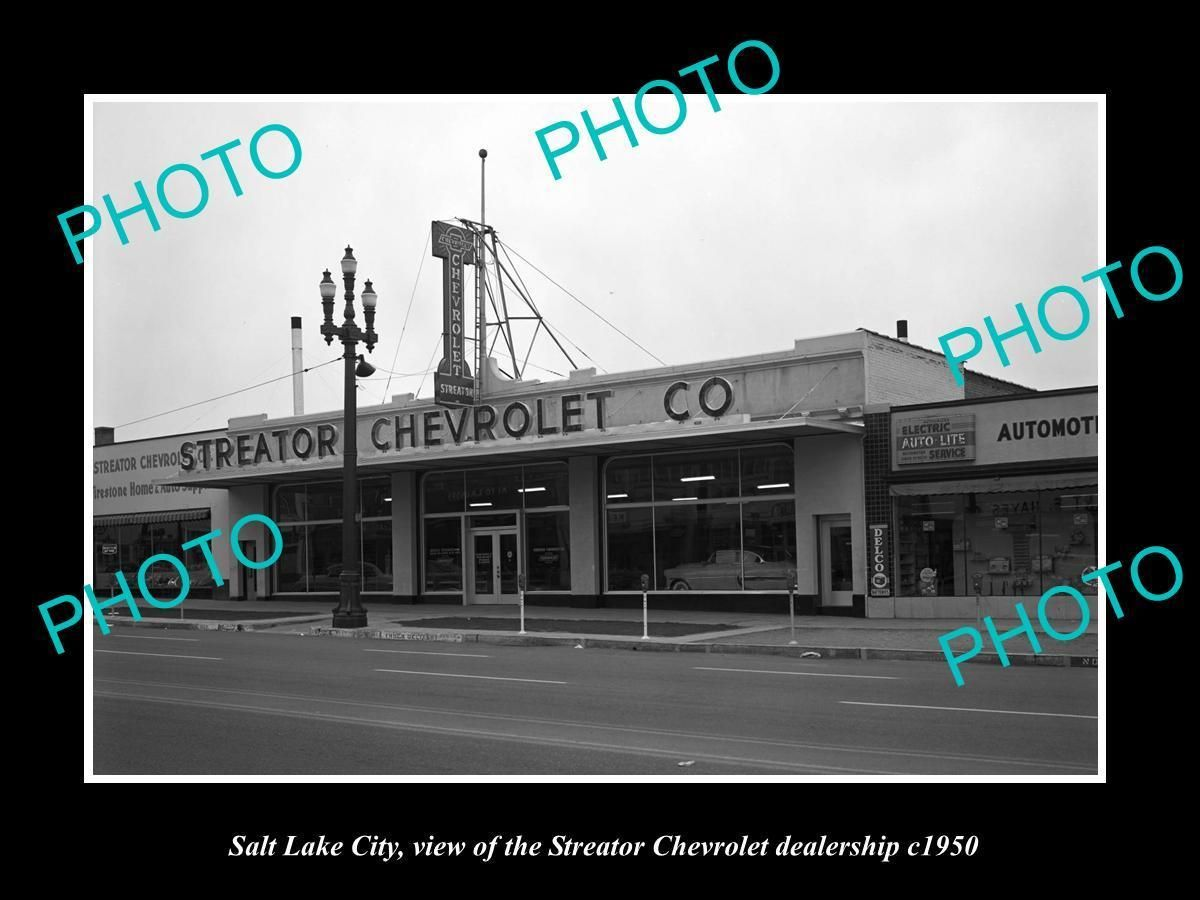 Old Large Historic Photo Of Salt Lake City Streator Chevrolet