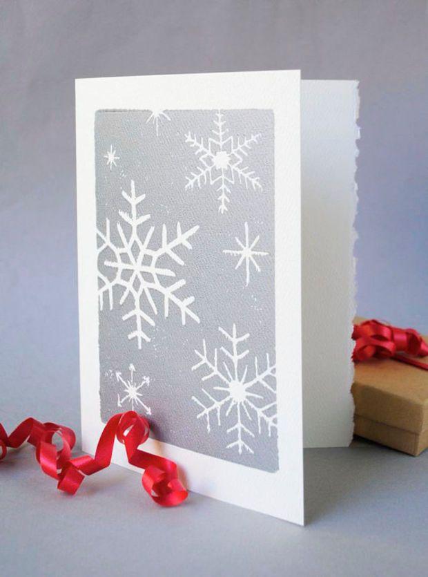 Silver Snowflakes Christmas Card, Winter Holiday Notecard, Hand-printed 5x7 Snow Linocut Card ...