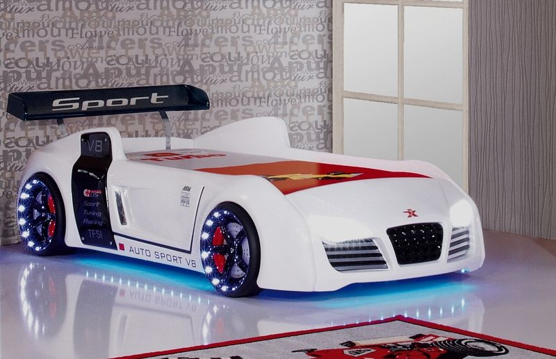 Kinderbett auto weiss  Autobett Kinderbett Rennwagen