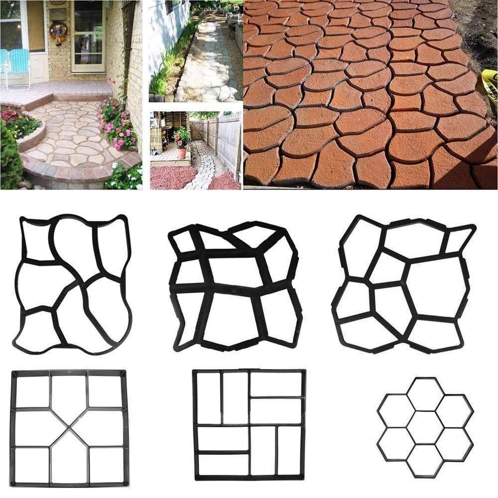 5 pcs Plastic MOLDS for Concrete Garden Stepping Stone Path Patio MOULDS CEMENT