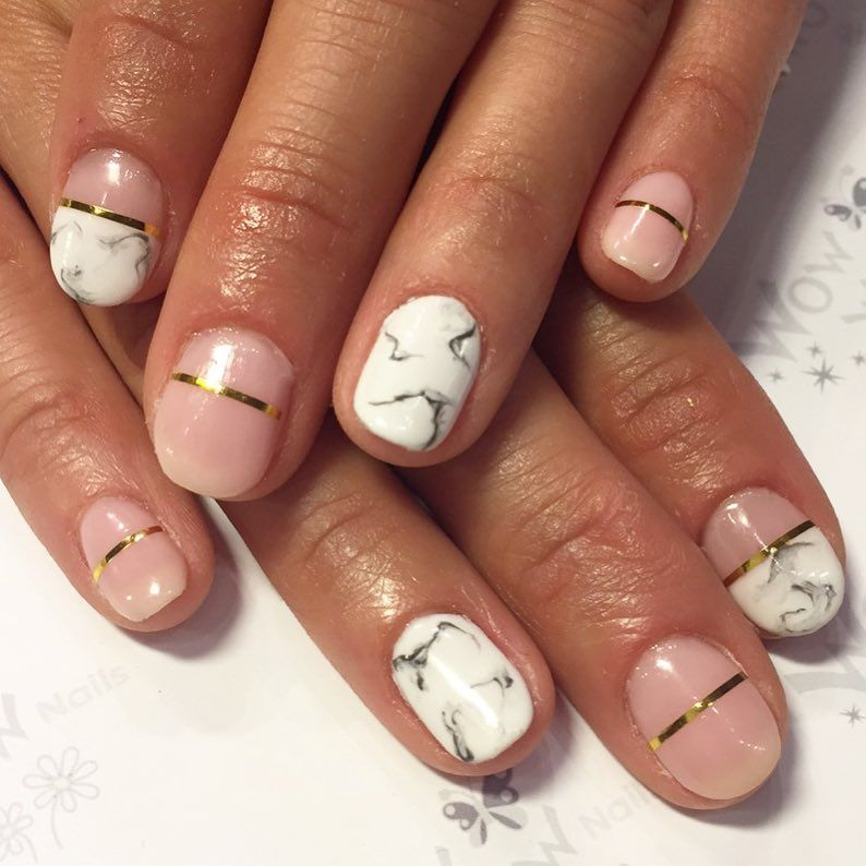 Stone pressed Marble nail design with pink and gold stripe shellac 10  Perfect Marble Nail Art - 10 Perfect Marble Nail Art - Elegant Look On Nails Marble Nails