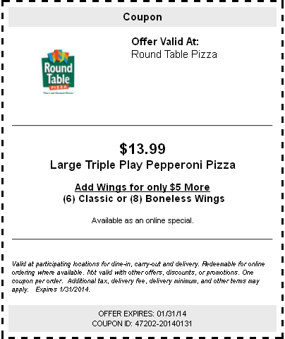 graphic regarding Round Table Pizza Printable Coupons called Spherical Desk Pizza: $13.99 Pepperoni Pizza Printable Coupon