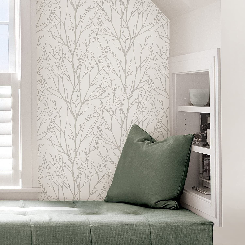 White Treetops Removable Wallpaper Nuwallpaper Home Decor Peel And Stick Wallpaper