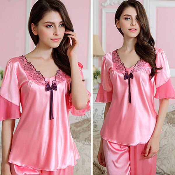 a0649a231c MASALING Women s Sexy Satin Pyjamas Smooth Silk Pajamas Set Girl Sleepwear  Suit