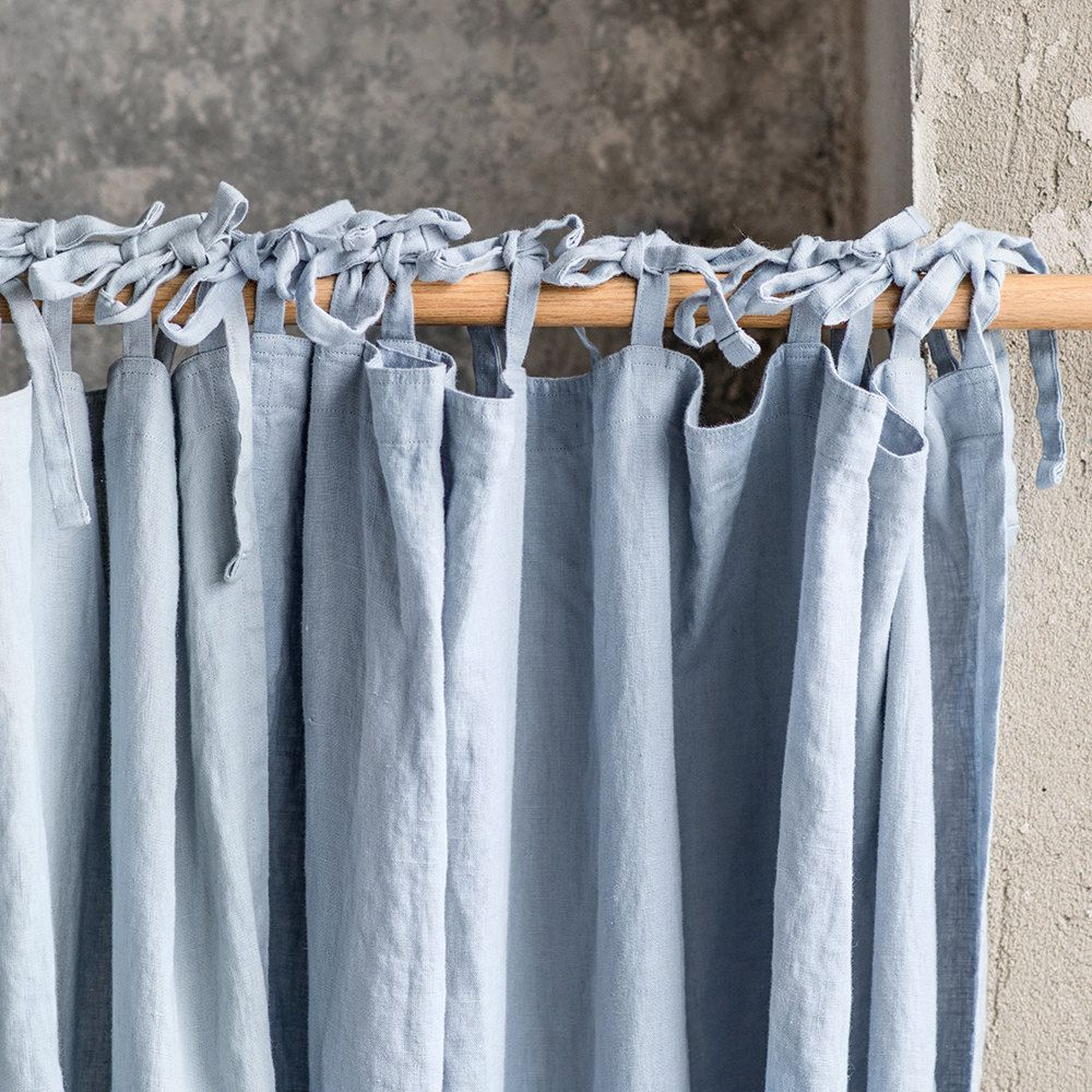 Gewaschen Und Handgemachte Blaulich Grau Leinen Gardinen Fur Entspannten Look Linen Curtains Pink Curtains Purple Curtains