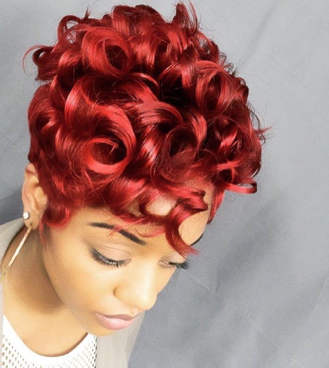 Blazing Red Short hair styles easy, Hair styles, Stylish
