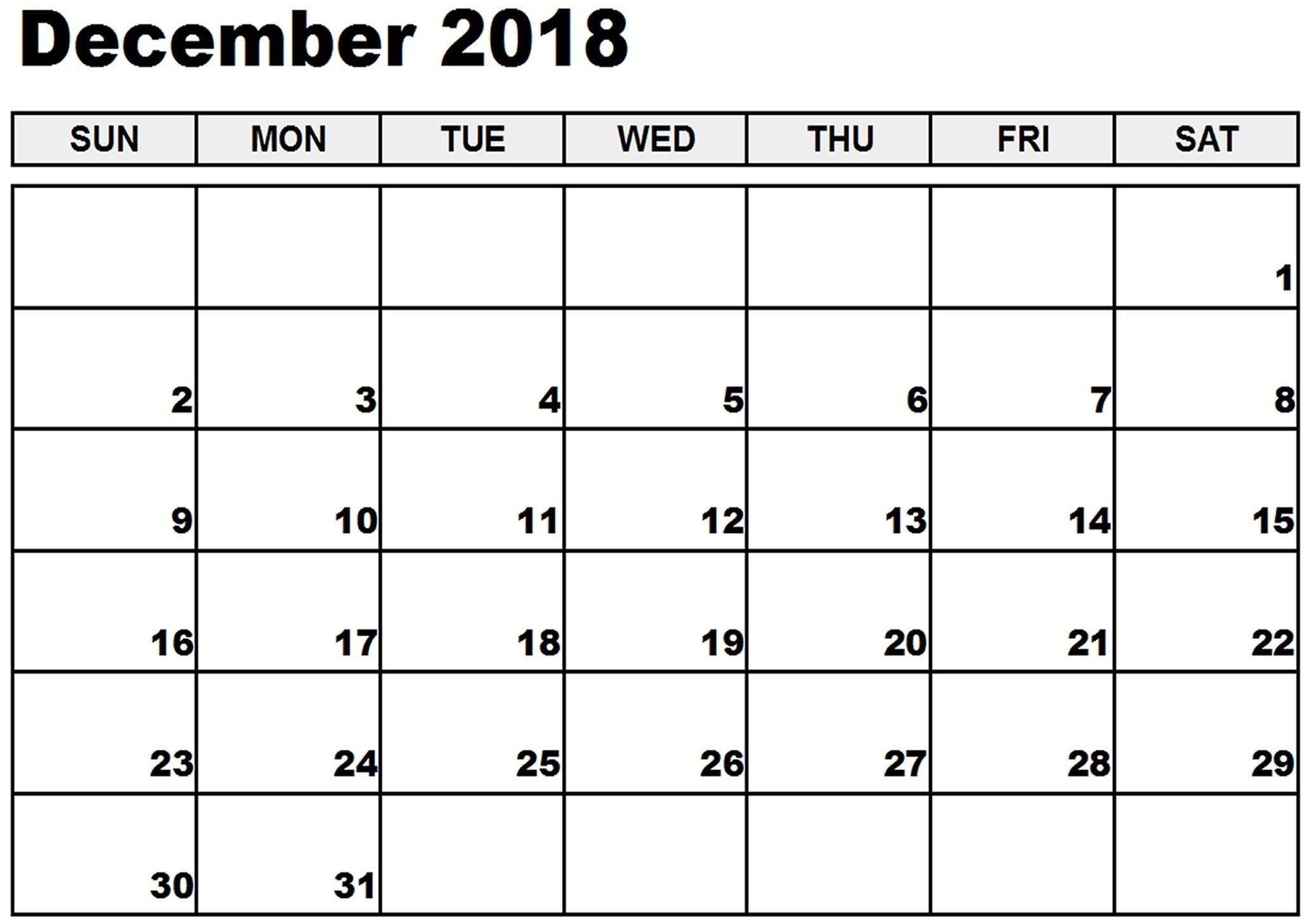 Monthly Calendar Free December 2019 To January 2019 Calendar December 2018 And January 2019 | December 2018 Calendar