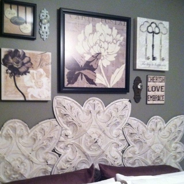 decorating with tin ceiling tiles | Love my headboard! Metal tiles ...
