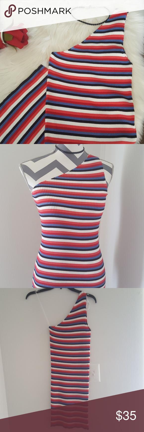 70156a13 ZARA KNIT one shoulder striped knit dress size S NWT. Never been worn.  Stretch. Form fitting. One shoulder knit dress. Light knit.Stripes colors:  red blaxk ...