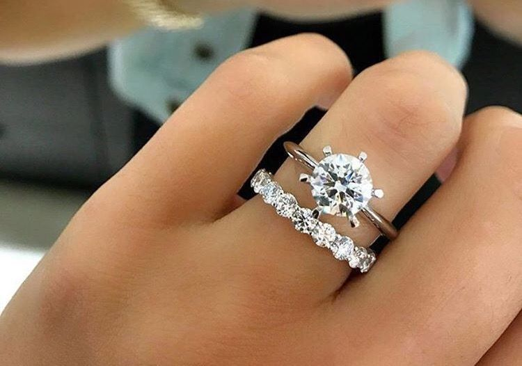 Love the idea of a solid band then adding a cool wedding band