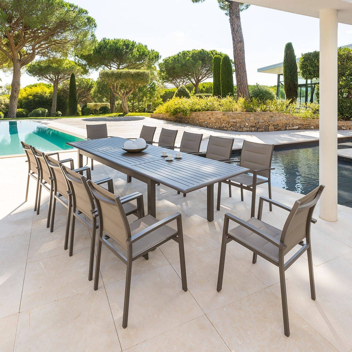 Table de jardin extensible Azua Tonka 12 places - Aluminium ...