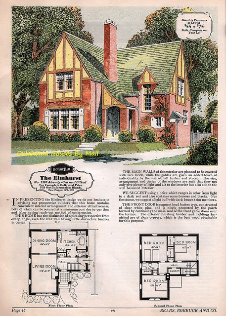 The Sears Elmhurst Cottage Floor Plans Sims House Plans House Blueprints