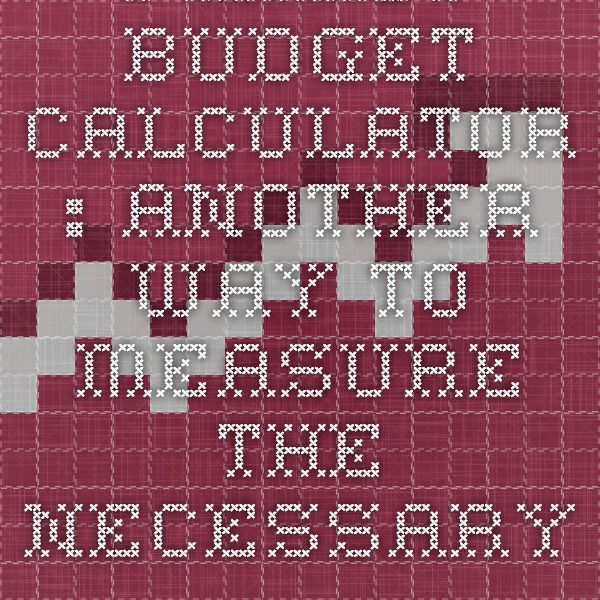 family budget calculator another way to measure the necessary