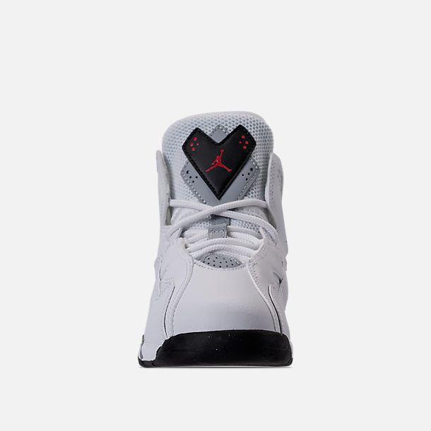 best service 29959 e3dd3 Front view of Boys  Preschool Jordan True Flight Basketball Shoes in White Gym  Red Black Wolf Grey