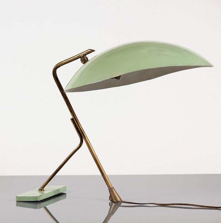 Enameled Metal And Brass Table Lamp | Stilnovo | 1950s