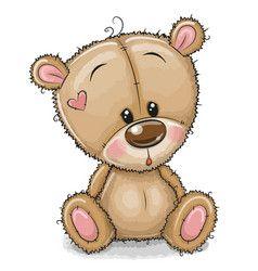 Drawing teddy bear on a yellow background Vector Image #teddybear