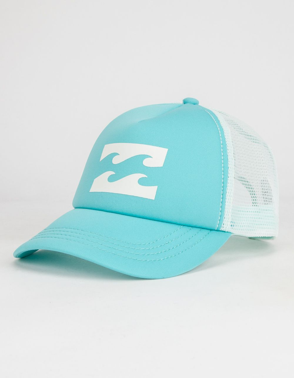 Billabong trucker hat. Quiksilver logo graphic screened on foamy front  panel. Mesh back. Adjustable snapback with Billabong tag. 55% polyester 45%  nylon. 9d6db73b679