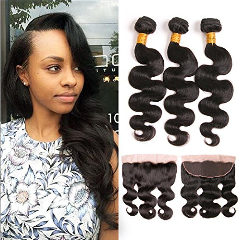 Brazilian Body Wave Bundles With Frontal 4x13 Silk Lace Free Part 100 Mink Virgin Hair Weave Ear To Ear Human Weave Hairstyles Hair Closure Virgin Hair Weaves