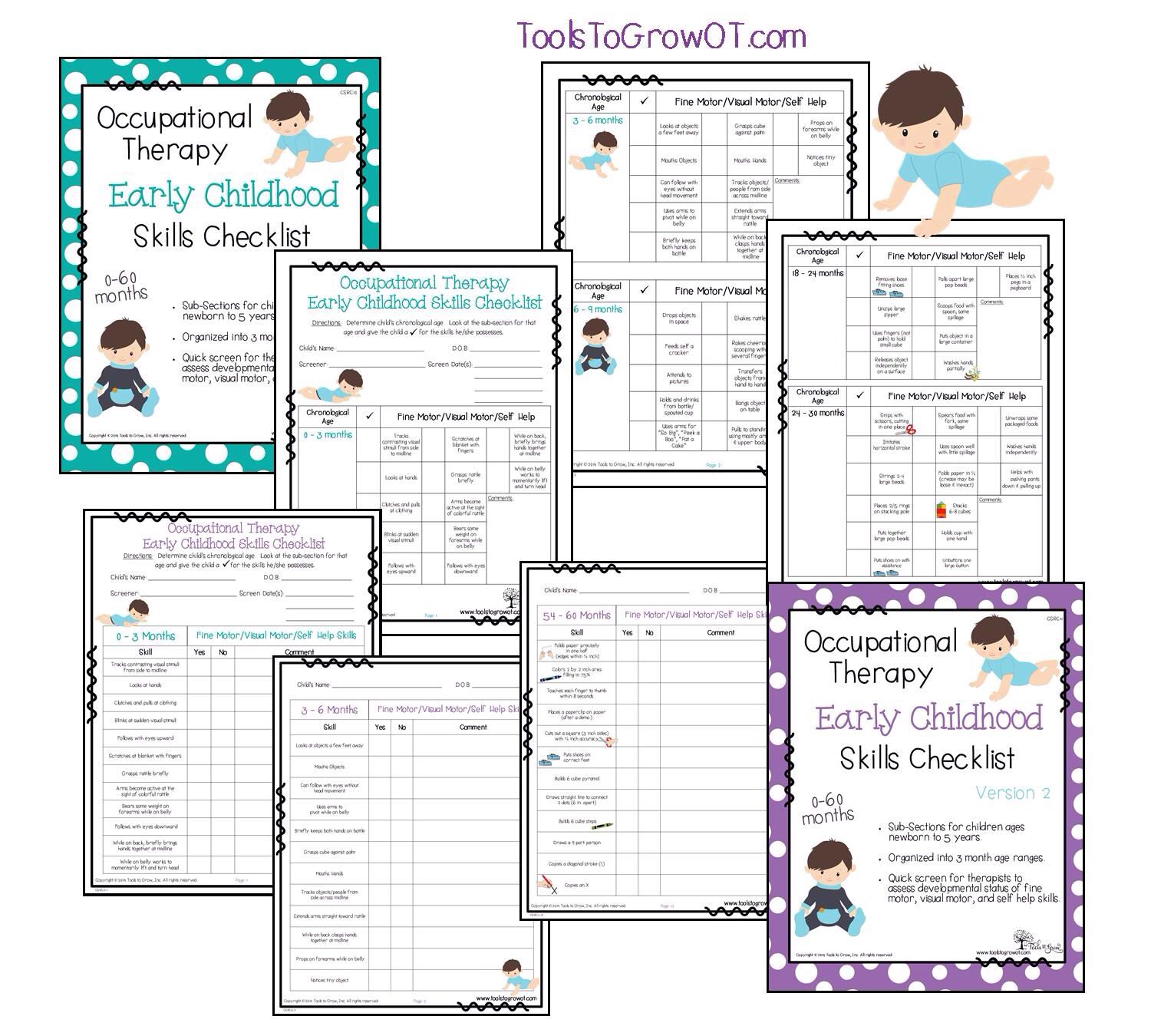Occupational Therapy Early Childhood Skills Checklist Early Intervention Fine Motor Self Help